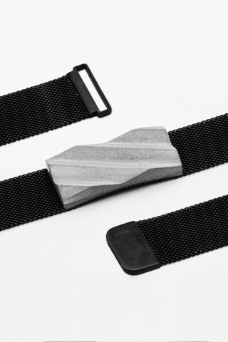 Shop Emerging Slow Fashion Brutalist Minimalist Utilitarian Avant-garde Designer MORF Stainless Steel and Concrete Grey Blok 54 Choker at Erebus