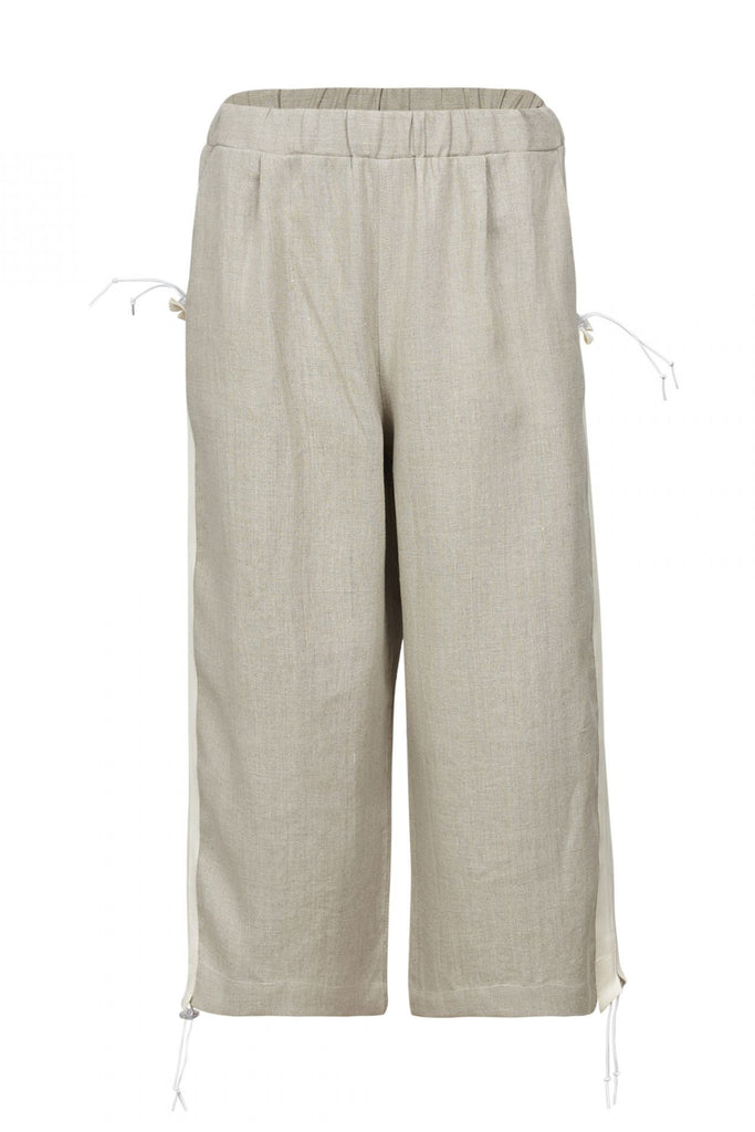 Shop Emerging Unisex Street Brand Monochrome Beige Organic Linen Tape Trousers at Erebus