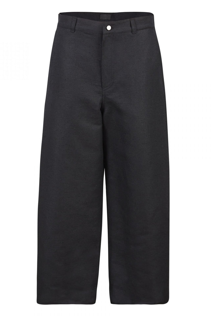 Shop Emerging Unisex Street Brand Monochrome Black Organic Linen Round Trousers at Erebus