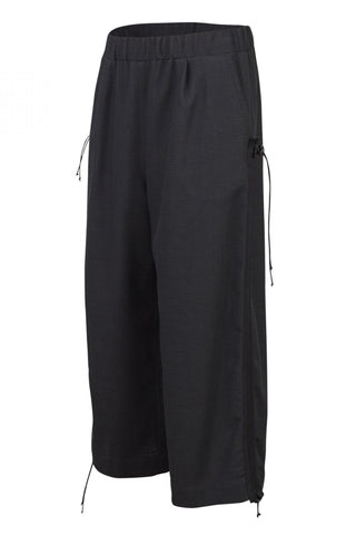 Shop Emerging Unisex Street Brand Monochrome Black Organic Linen Tape Trousers at Erebus