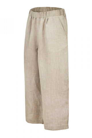 Shop Emerging Unisex Street Brand Monochrome Beige Organic Linen Wide Leg Trousers at Erebus