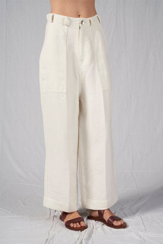 Shop Emerging Slow Fashion Conscious Conceptual Brand Cora Bellotto Ivory Wide Leg North Pants at Erebus