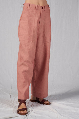 Shop Emerging Slow Fashion Conscious Conceptual Brand Cora Bellotto Dusty Pink Wide Leg North Pants at Erebus