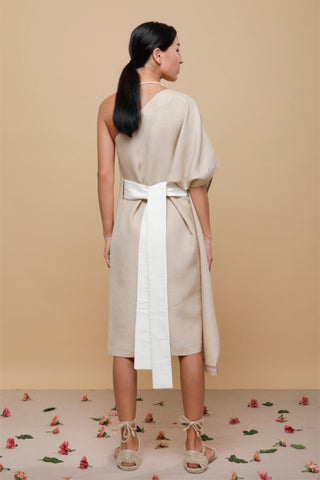 Shop Emerging Slow Fashion Conscious Conceptual Brand Cora Bellotto Sand Linen One Shoulder Prayer Dress at Erebus