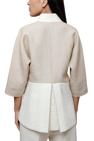 Shop Emerging Slow Fashion Conscious Conceptual Brand Cora Bellotto Sand Linen and Ivory Cotton Prayer Kimono Jacket at Erebus