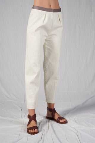 Shop Emerging Slow Fashion Conscious Conceptual Brand Cora Bellotto Ivory Cotton Prayer Cigarette Pants at Erebus