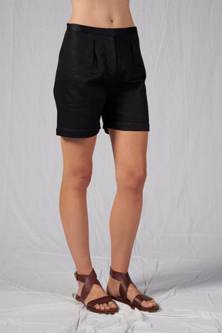 Shop Emerging Slow Fashion Conscious Conceptual Brand Cora Bellotto Black Quilted Cotton Prayer Shorts at Erebus