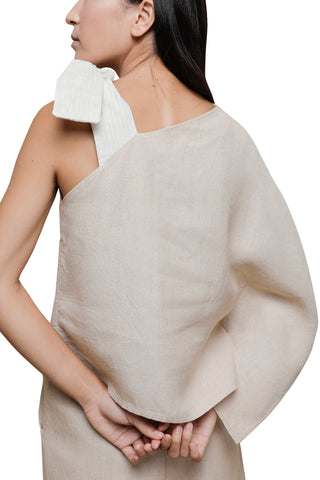 Shop Emerging Slow Fashion Conscious Conceptual Brand Cora Bellotto Sand Linen and Ivory Cotton One Shoulder Prayer Top at Erebus
