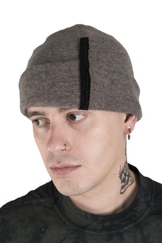 Shop Conscious Modern Menswear Designer Sandro Marzo Taupe Wool and Cashmere Blend Beanie Hat at Erebus