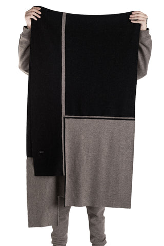 Shop Conscious Modern Menswear Designer Sandro Marzo Taupe and Black Wool and Cashmere Blend Scarf at Erebus