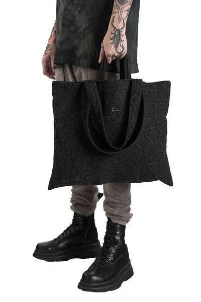 Shop Conscious Modern Menswear Designer Sandro Marzo Black Wool Tote Bag at Erebus