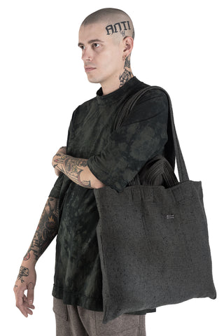 Shop Conscious Modern Menswear Designer Sandro Marzo Light Grey Wool Tote Bag at Erebus