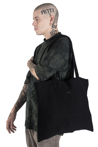 Shop Conscious Modern Menswear Designer Sandro Marzo Black Cotton Wool Blend Tote Bag at Erebus