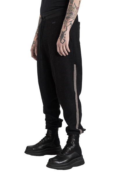 Shop Conscious Modern Menswear Designer Sandro Marzo Black and Taupe Merino Wool and Cashmere Jogging Trousers at Erebus