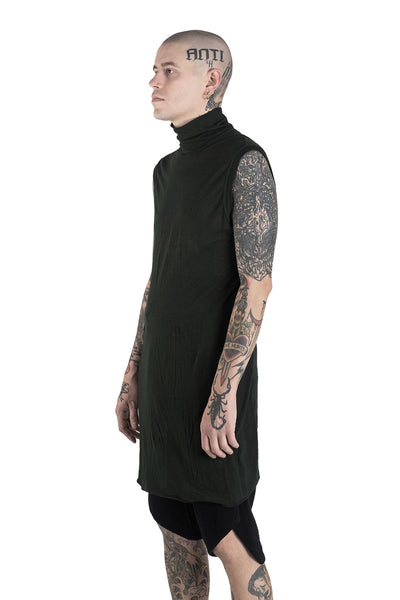 Shop Conscious Modern Menswear Designer Sandro Marzo Dark Green Cotton Wool Blend High Neck Vest Top at Erebus