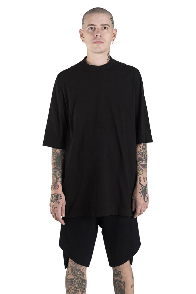 Shop Conscious Modern Menswear Designer Sandro Marzo Black Organic and Recycled Cotton Oversized T-Shirt at Erebus