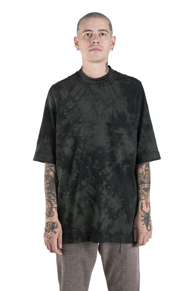 Shop Conscious Modern Menswear Designer Sandro Marzo Olive Green and Black Organic and Recycled Cotton Oversized T-Shirt at Erebus