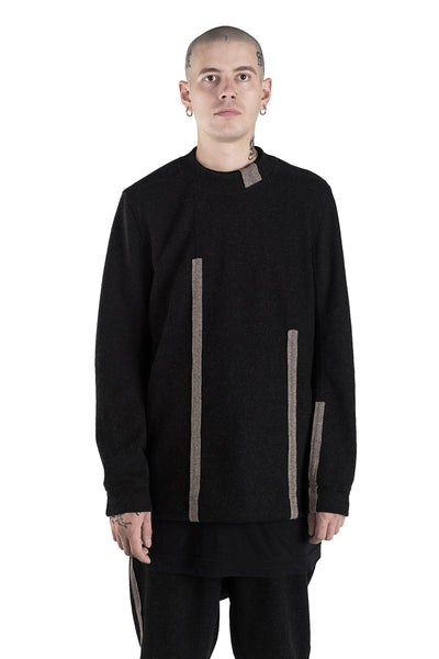Shop Conscious Modern Menswear Designer Sandro Marzo Black and Taupe Merino Wool and Cashmere Jumper at Erebus