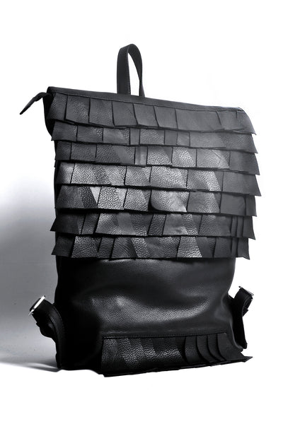 Shop emerging slow fashion accessory brand Anoir by Amal Kiran Jana Black Cut Backpack at Erebus