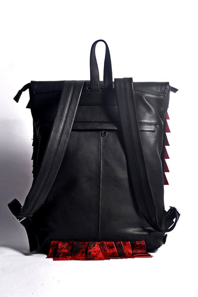 Shop emerging slow fashion accessory brand Anoir by Amal Kiran Jana Red Cut Backpack at Erebus