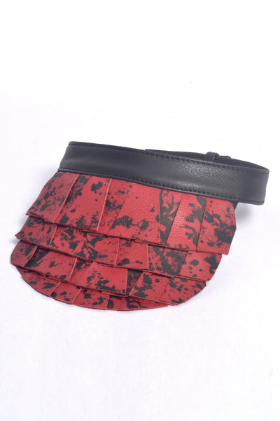 Shop Emerging Slow Fashion Accessory Brand Anoir by Amal Kiran Jana Red Printed Leather Golf Visor at Erebus