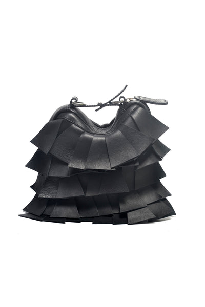 Shop Emerging Slow Fashion Accessory Brand Anoir by Amal Kiran Jana Black Cut Leather Transform Pochette at Erebus