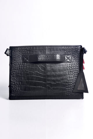 Shop Emerging Slow Fashion Accessory Brand Anoir by Amal Kiran Jana Red Cut and Croc Leather Clutch at Erebus