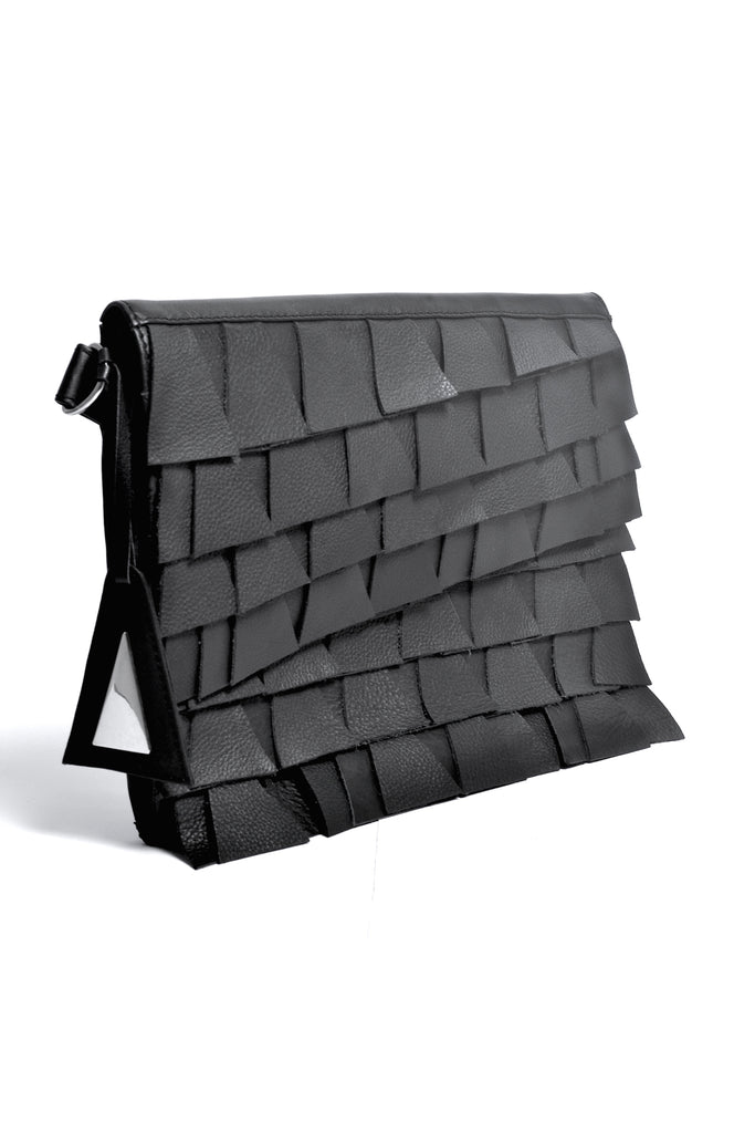 Shop Emerging Slow Fashion Accessory Brand Anoir by Amal Kiran Jana Black Cut Leather Clutch at Erebus
