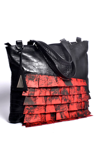 Shop Emerging Slow Fashion Accessory Brand Anoir by Amal Kiran Jana Black Croc and Red Cut Leather Asymmetric Tote at Erebus