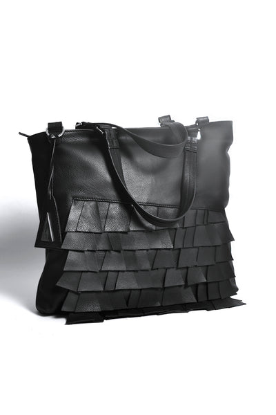 Shop Emerging Slow Fashion Accessory Brand Anoir by Amal Kiran Jana Black Cut Leather Asymmetric Tote at Erebus