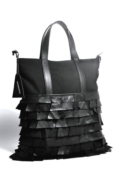 Shop Emerging Slow Fashion Accessory Brand Anoir by Amal Kiran Jana Black Cut Leather Minimal Tote at Erebus