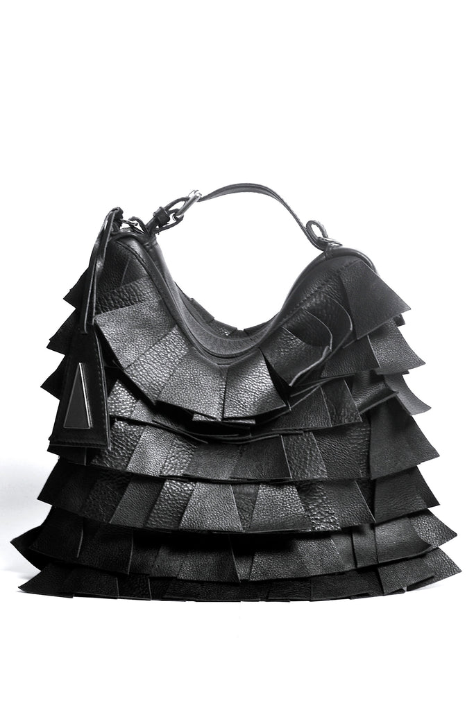 Shop Emerging Slow Fashion Accessory Brand Anoir by Amal Kiran Jana Black Leather Cut Transformable Bag at Erebus