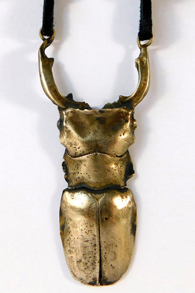Shop Emerging Slow Fashion Conscious Designer Stacy Hopkins Jewelry Bronze Stag Beetle Pendant at Erebus