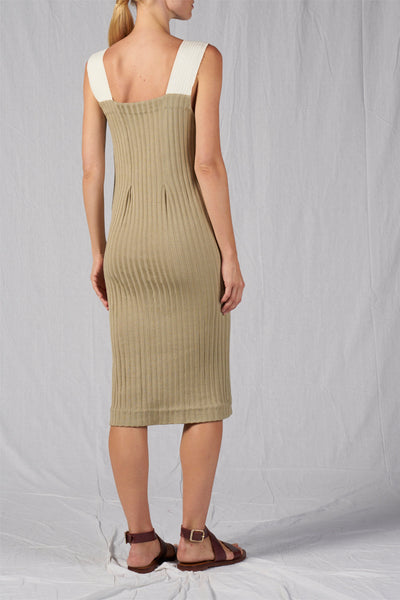 Shop Emerging Slow Fashion Conscious Conceptual Brand Cora Bellotto Ribbed Knit Organic Cotton Dusty Sage Stone Dress at Erebus