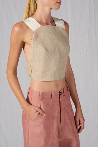 Shop Emerging Slow Fashion Conscious Conceptual Brand Cora Bellotto Sand Linen Stone Crop Top at Erebus