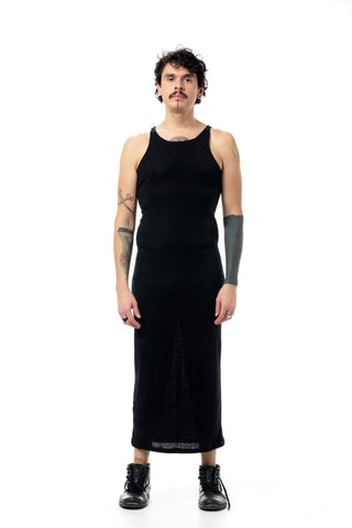 Shop Emerging Dark Conscious Gender-free Designer LAURIJARVINENSTUDIO Black Slim Fit Wool Silk Blend W Dress at Erebus