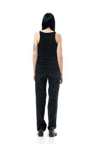 Shop Emerging Dark Conscious Gender-free Designer LAURIJARVINENSTUDIO Black Bamboo Silk Blend W Vest Top at Erebus