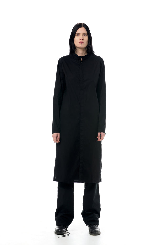 Shop Emerging Dark Conscious Gender-free Designer LAURIJARVINENSTUDIO Stretch Cotton Black Casual Shirt Dress at Erebus