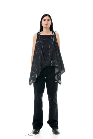 Shop Emerging Dark Conscious Gender-free Designer LAURIJARVINENSTUDIO Zero Waste Black Print Multiway Piece at Erebus