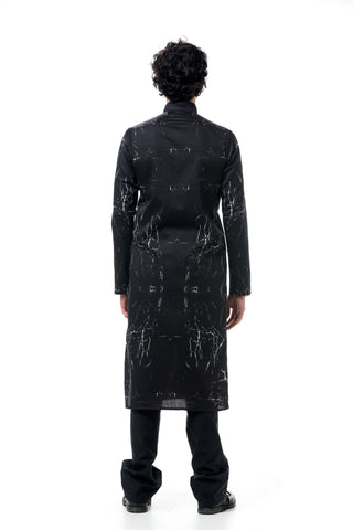 Shop Emerging Dark Conscious Gender-free Designer LAURIJARVINENSTUDIO Stretch Cotton Black Print Casual Shirt Dress at Erebus