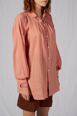 Shop Emerging Slow Fashion Conscious Conceptual Brand Cora Bellotto Zero Waste Dusty Pink Organic Cotton Topaz Shirt at Erebus