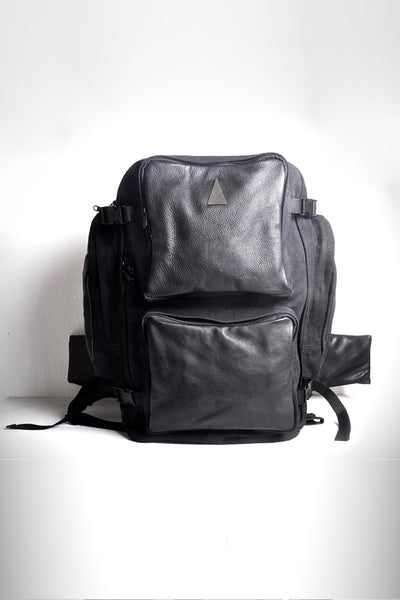 Shop emerging dark conscious fashion accessory brand Anoir by Amal Kiran Jana Black Leather Travel Backpack at Erebus