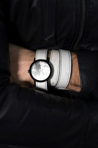 Shop emerging avant-garde accessory brand South Lane White Hand-painted Avant Diffuse Invert Triple Wrap Watch at Erebus