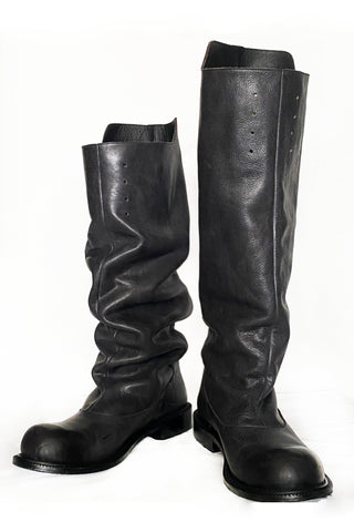 Shop Conscious Dark Fashion Brand MAKS Design Black Leather Riding Boots at Erebus