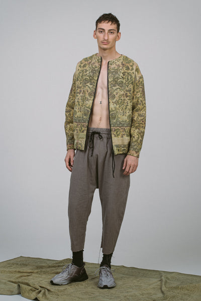 Shop Conscious Contemporary Brand Zsigmond Dora Menswear Roots SS21 Collection Re-Made Vintage Material One of a Kind Zerge Jacket at Erebus