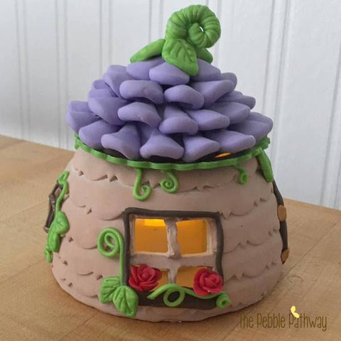 Fairy House with Purple flower roof