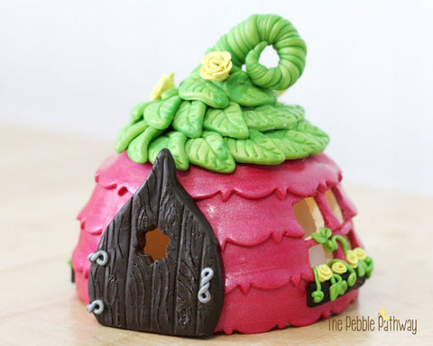 Pink Fairy House with Green Leaf Roof - Brinley