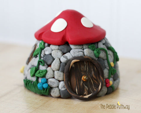 Stone Fairy House with Mushroom Roof