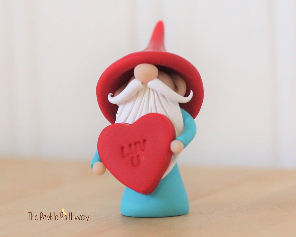 Valentine Gnome holding Luv U Heart - Love Gnome - 0324 - ThePebblePathway