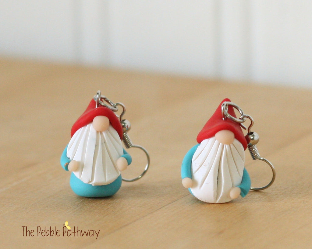 Tiny Gnome Earrings 0334 - ThePebblePathway